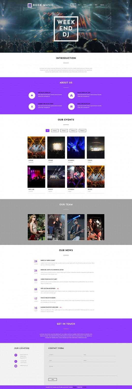 音乐会门票专题静态页网站模板